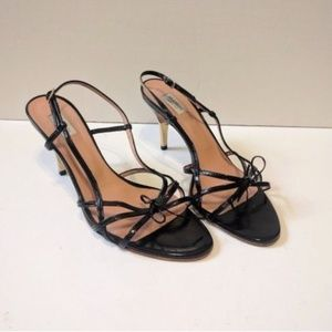 Max Mara 39 Black Leather Strappy Bow Heels